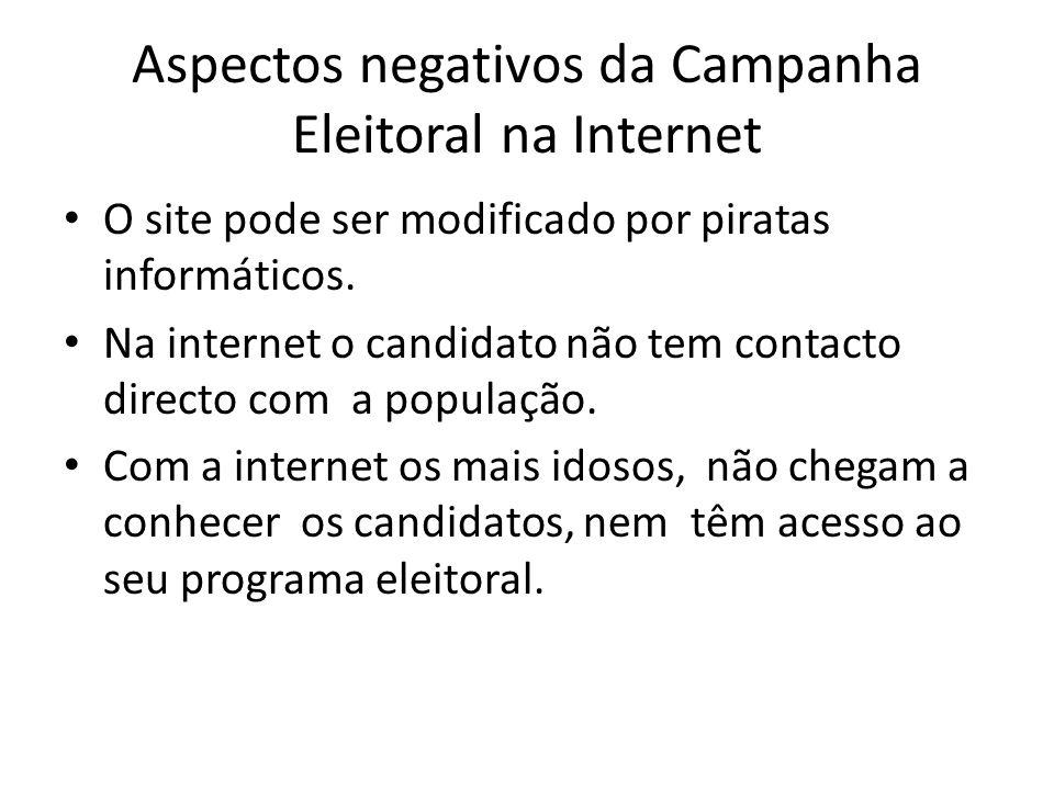 Aspectos negativos da Campanha Eleitoral na Internet
