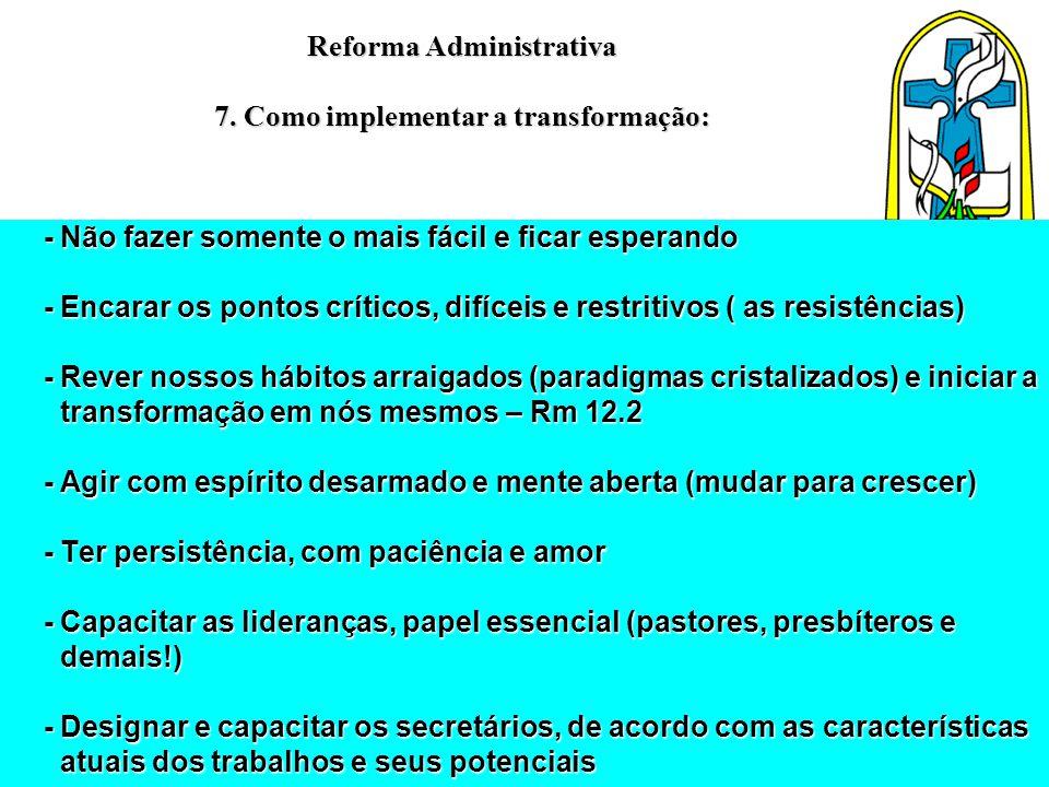 Reforma Administrativa 7. Como implementar a transformação: