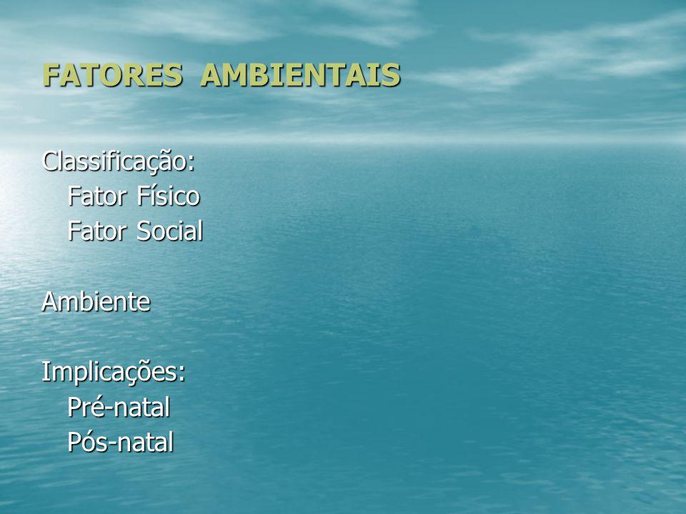 FATORES AMBIENTAIS Classificação: Fator Físico Fator Social Ambiente