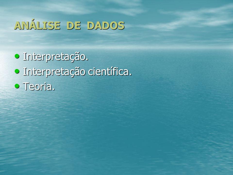 ANÁLISE DE DADOS Interpretação. Interpretação científica. Teoria.