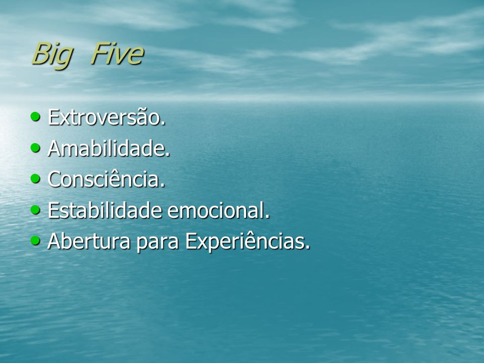 Big Five Extroversão. Amabilidade. Consciência.