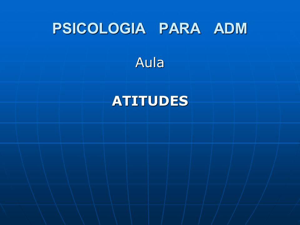 PSICOLOGIA PARA ADM Aula ATITUDES