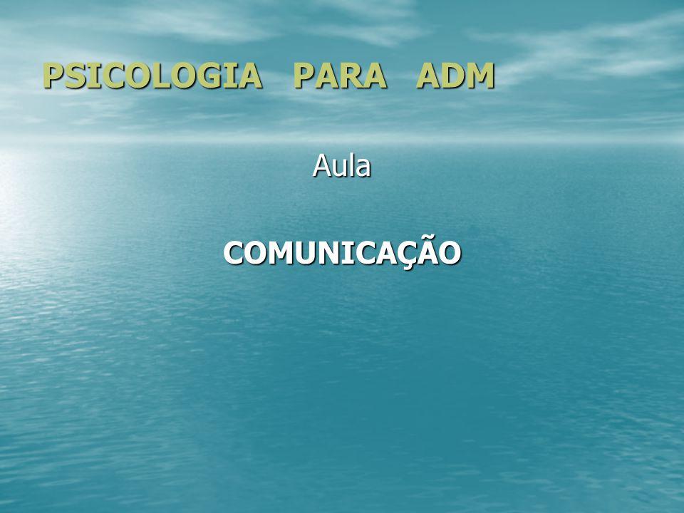 PSICOLOGIA PARA ADM Aula COMUNICAÇÃO
