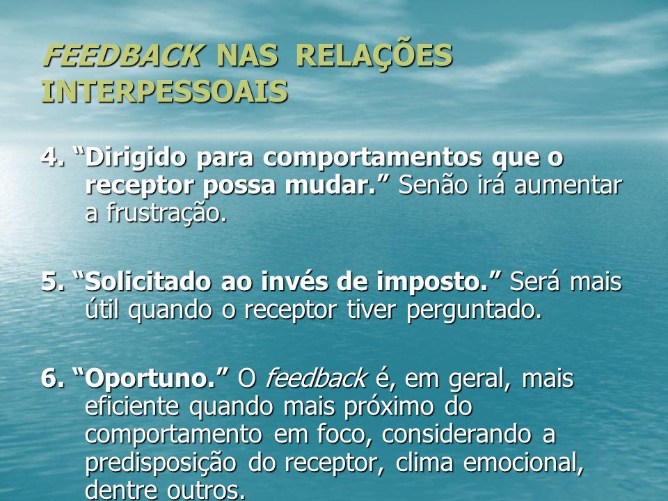 FEEDBACK NAS RELAÇÕES INTERPESSOAIS