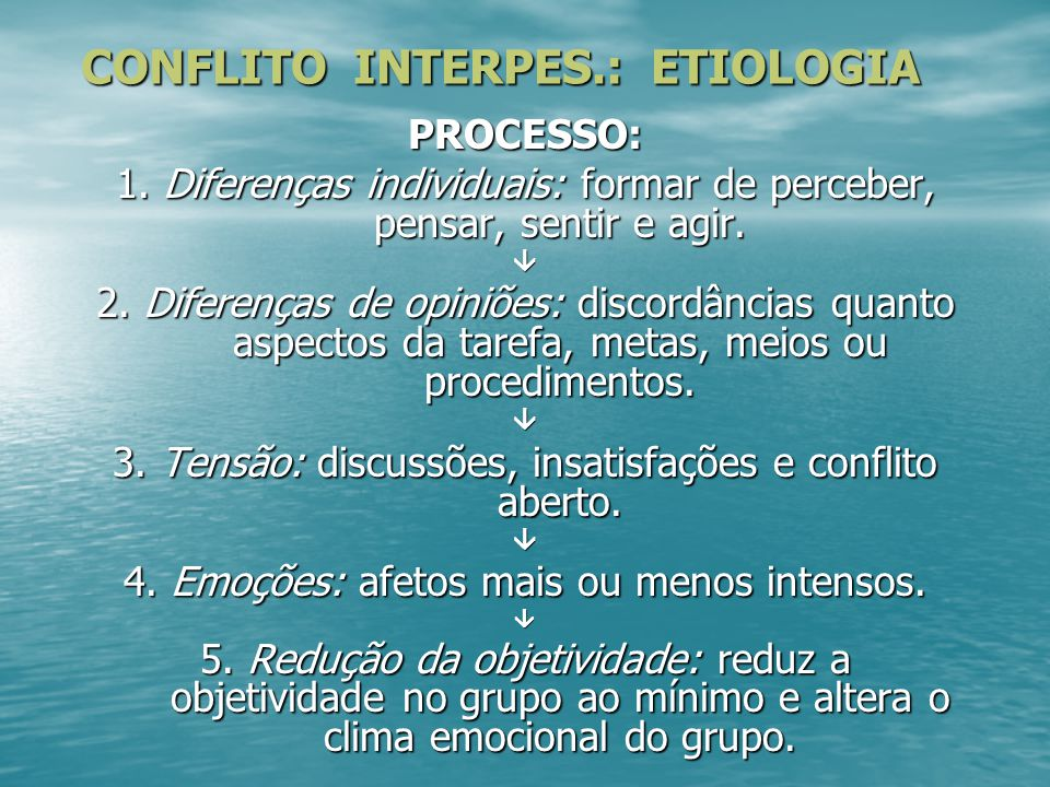 CONFLITO INTERPES.: ETIOLOGIA