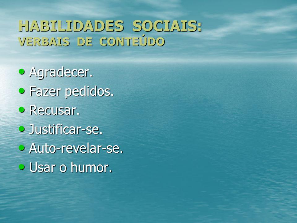 HABILIDADES SOCIAIS: VERBAIS DE CONTEÚDO