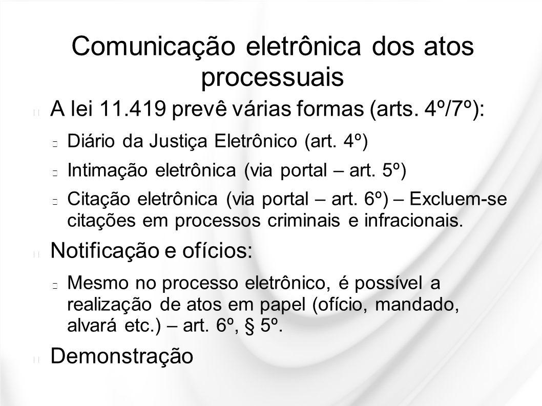 Comunicação eletrônica dos atos processuais
