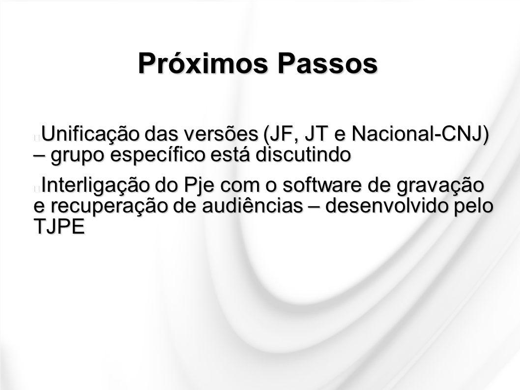 Próximos Passos Unificação das versões (JF, JT e Nacional-CNJ) – grupo específico está discutindo.
