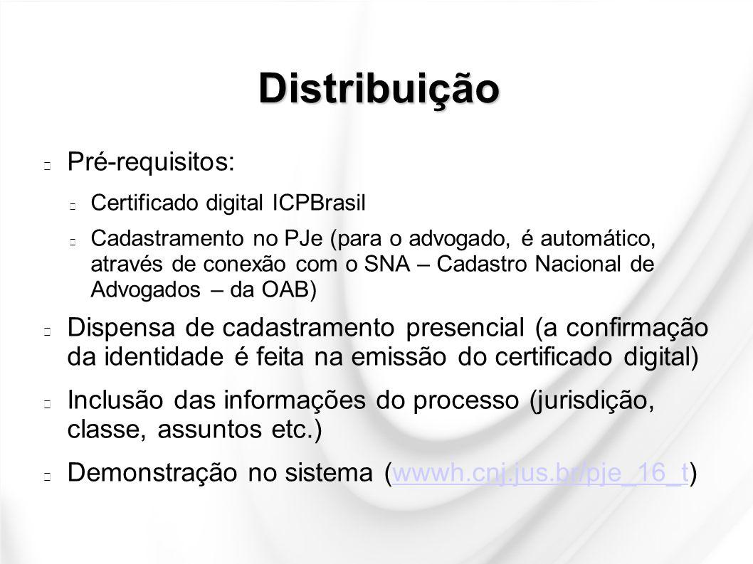 Distribuição Pré-requisitos: