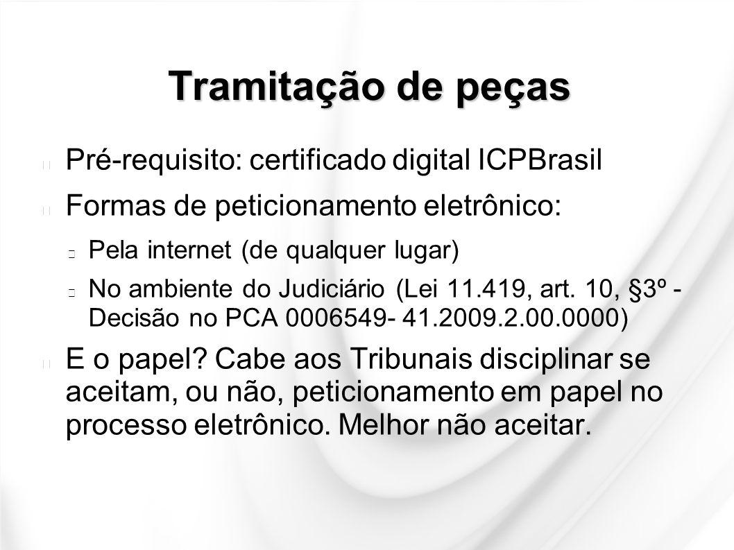 Tramitação de peças Pré-requisito: certificado digital ICPBrasil