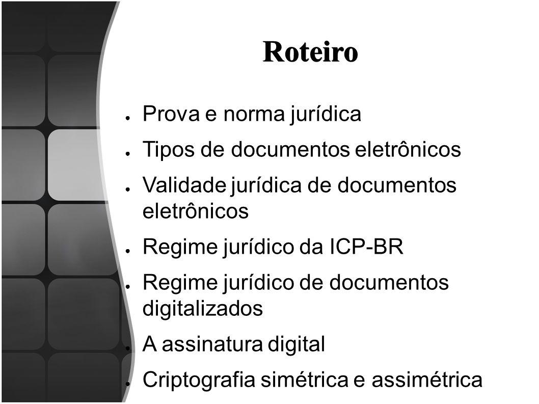 Roteiro Prova e norma jurídica Tipos de documentos eletrônicos