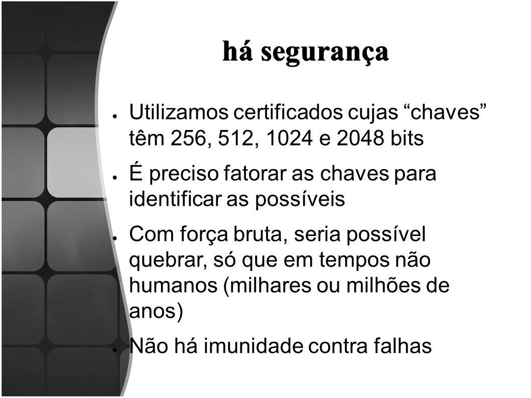 há segurança Utilizamos certificados cujas chaves têm 256, 512, 1024 e 2048 bits. É preciso fatorar as chaves para identificar as possíveis.