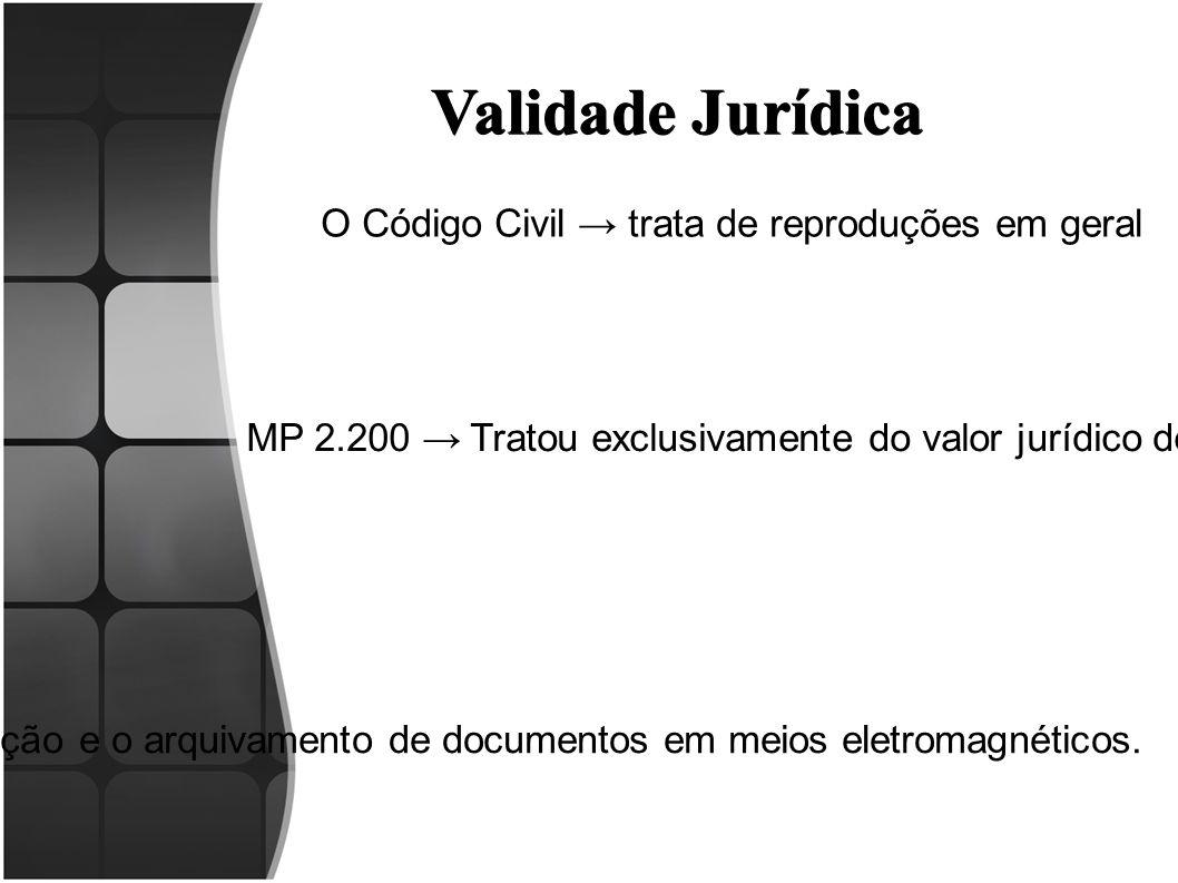 Validade Jurídica O Código Civil → trata de reproduções em geral