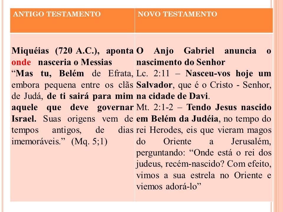 Miquéias (720 A.C.), aponta onde nasceria o Messias