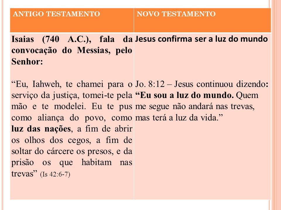 Isaias (740 A.C.), fala da convocação do Messias, pelo Senhor: