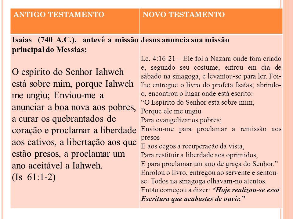 ANTIGO TESTAMENTO NOVO TESTAMENTO. Isaias (740 A.C.), antevê a missão principal do Messias: