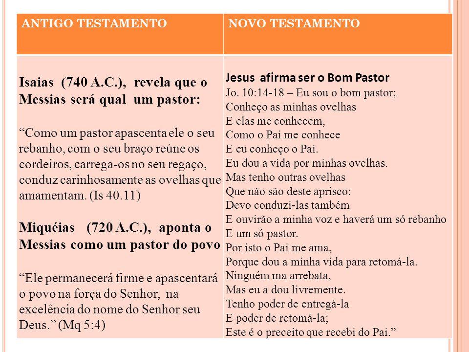 Isaias (740 A.C.), revela que o Messias será qual um pastor: