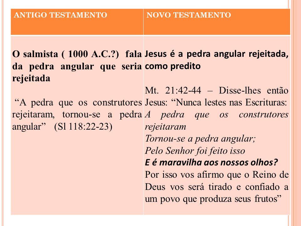 O salmista ( 1000 A.C. ) fala da pedra angular que seria rejeitada