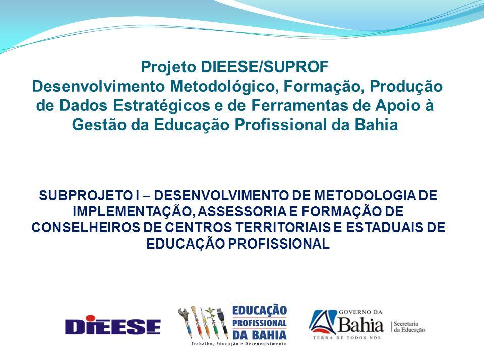 Projeto DIEESE/SUPROF Desenvolvimento Metodológico, Formação, Produção de Dados Estratégicos e de Ferramentas de Apoio à Gestão da Educação Profissional da Bahia