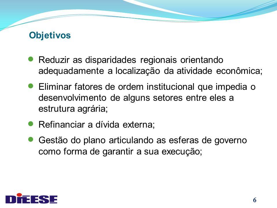 Objetivos Reduzir as disparidades regionais orientando adequadamente a localização da atividade econômica;