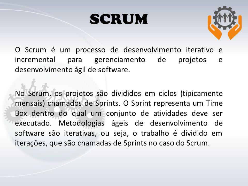 SCRUM O Scrum é um processo de desenvolvimento iterativo e incremental para gerenciamento de projetos e desenvolvimento ágil de software.