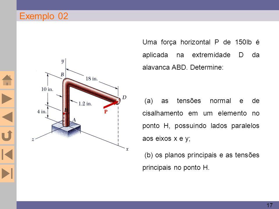 17 Exemplo 02. Uma força horizontal P de 150lb é aplicada na extremidade D da alavanca ABD. Determine: