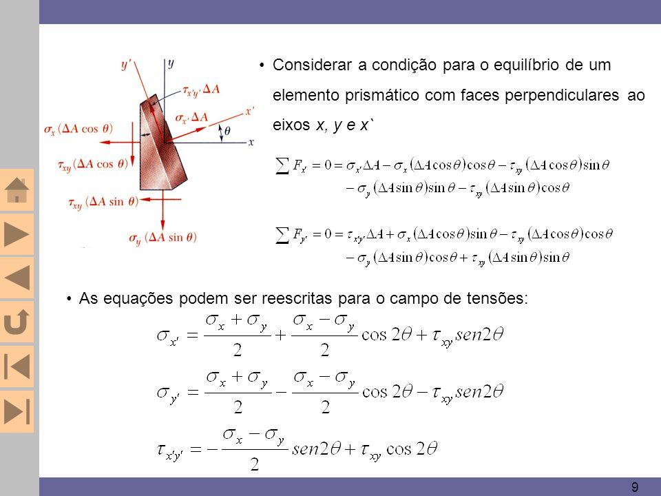 As equações podem ser reescritas para o campo de tensões: