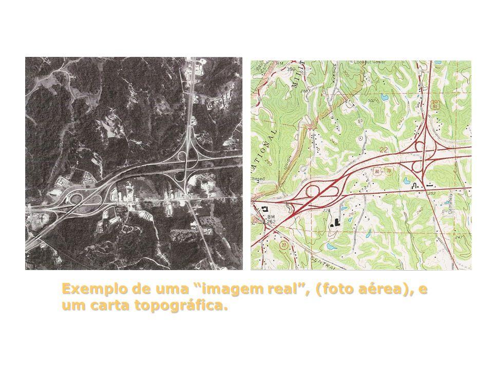 Exemplo de uma imagem real , (foto aérea), e um carta topográfica.