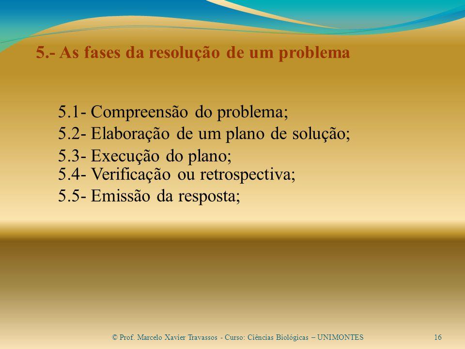 5.- As fases da resolução de um problema