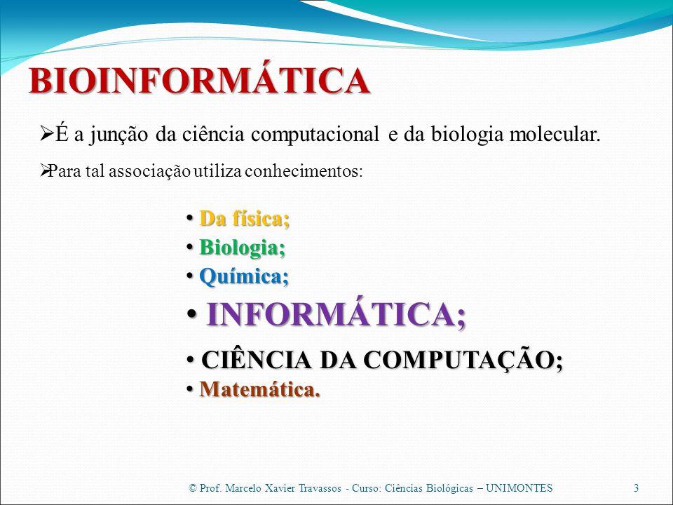 BIOINFORMÁTICA INFORMÁTICA; CIÊNCIA DA COMPUTAÇÃO;