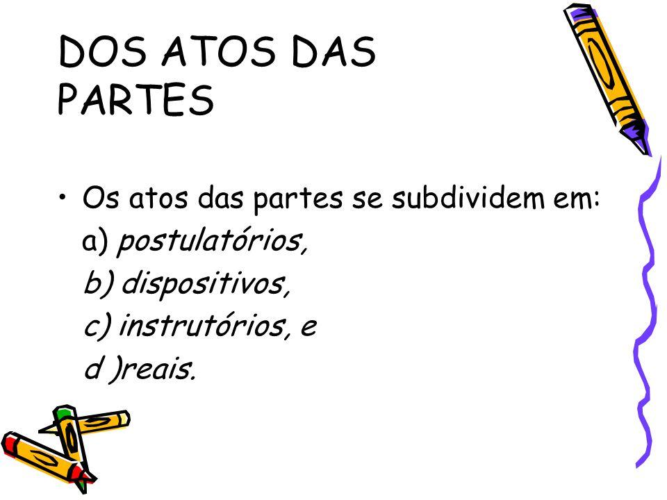 DOS ATOS DAS PARTES Os atos das partes se subdividem em: