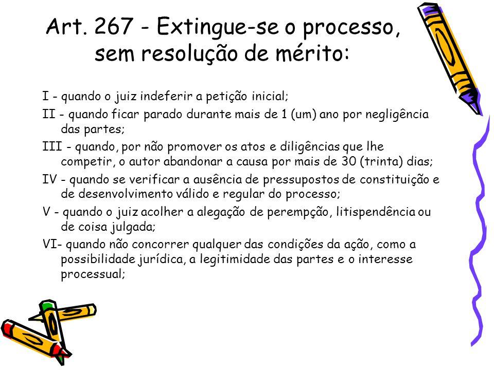 Art. 267 - Extingue-se o processo, sem resolução de mérito: