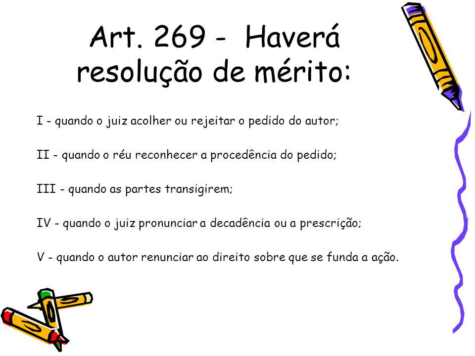Art. 269 - Haverá resolução de mérito: