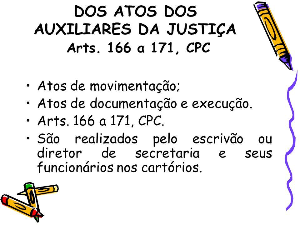 DOS ATOS DOS AUXILIARES DA JUSTIÇA Arts. 166 a 171, CPC