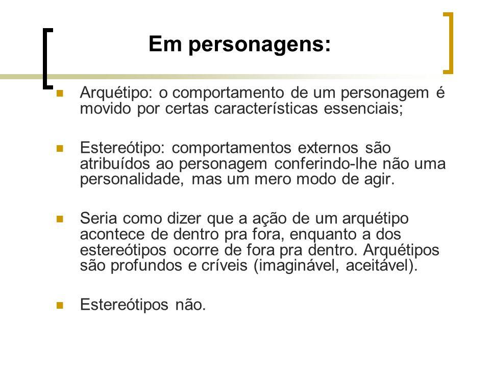 Em personagens: Arquétipo: o comportamento de um personagem é movido por certas características essenciais;