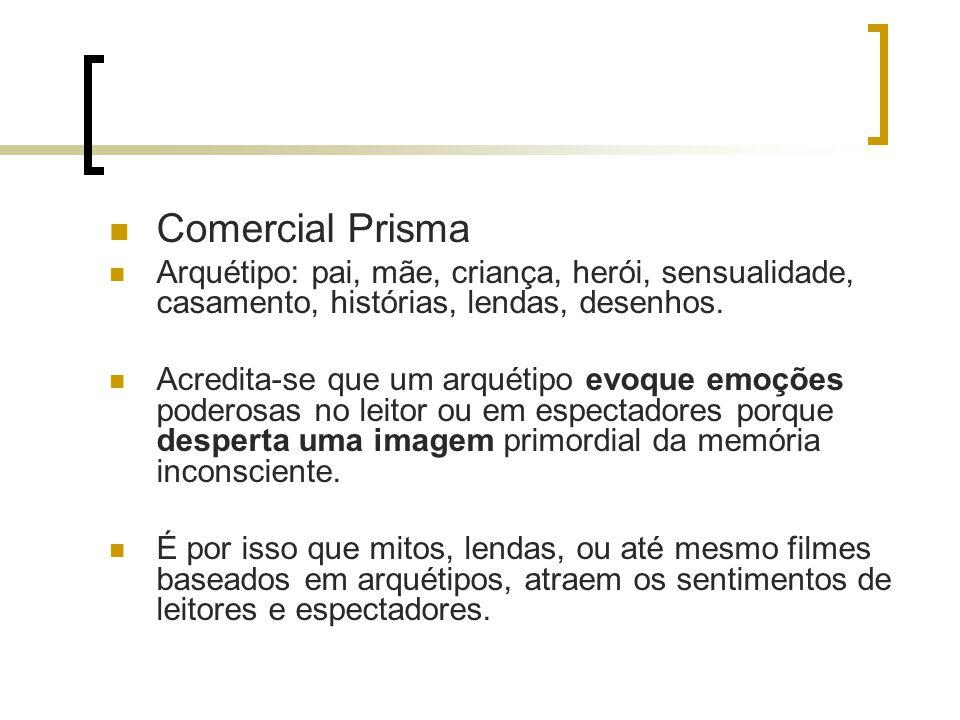 Comercial Prisma Arquétipo: pai, mãe, criança, herói, sensualidade, casamento, histórias, lendas, desenhos.