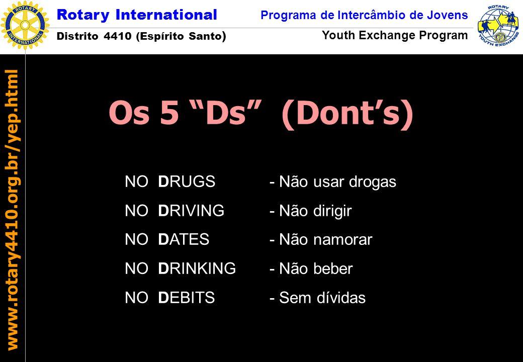 Os 5 Ds (Dont's) NO DRUGS - Não usar drogas NO DRIVING - Não dirigir