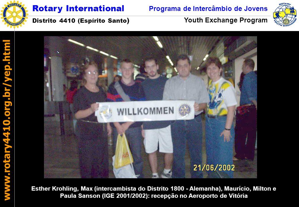 Esther Krohling, Max (intercambista do Distrito 1800 - Alemanha), Maurício, Milton e Paula Sanson (IGE 2001/2002): recepção no Aeroporto de Vitória