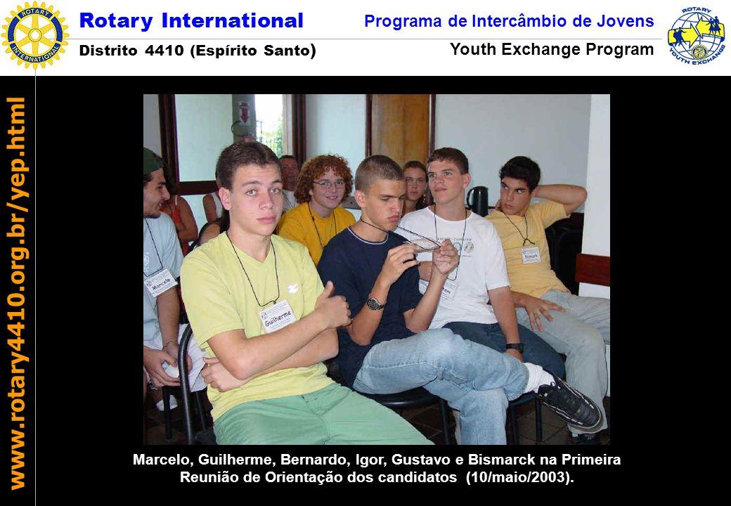 Marcelo, Guilherme, Bernardo, Igor, Gustavo e Bismarck na Primeira Reunião de Orientação dos candidatos (10/maio/2003).