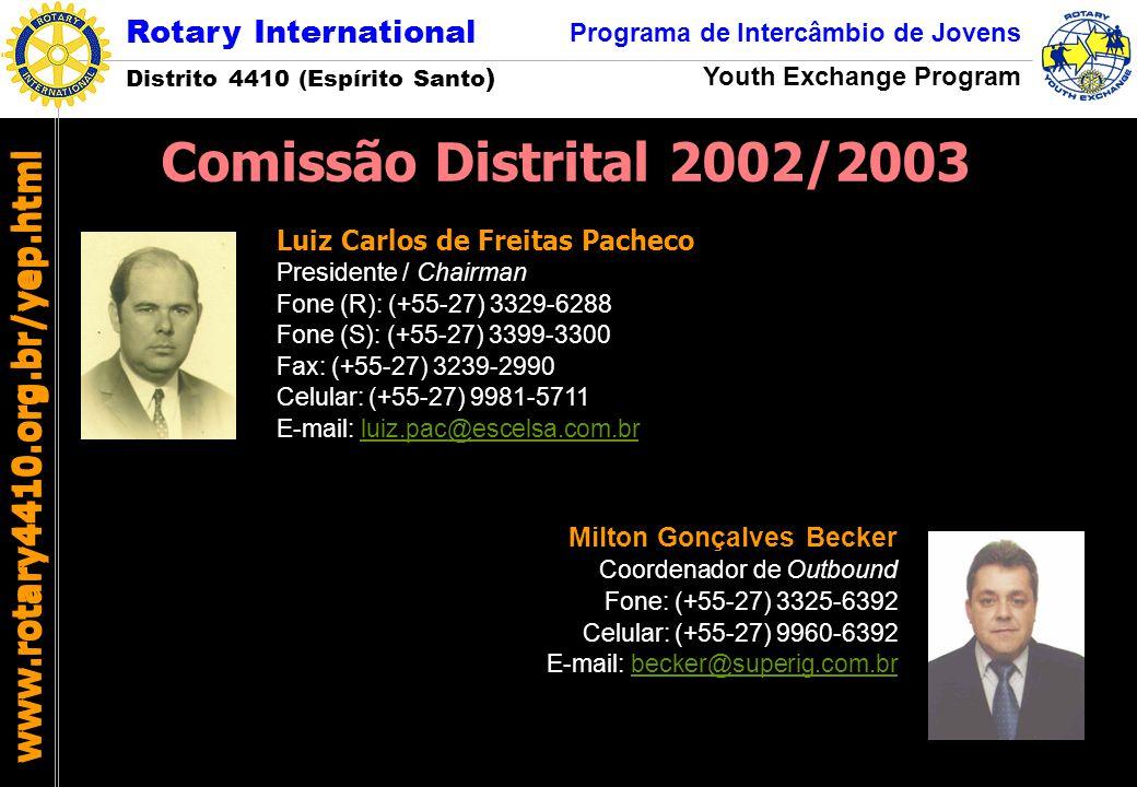 Comissão Distrital 2002/2003 www.rotary4410.org.br/yep.html