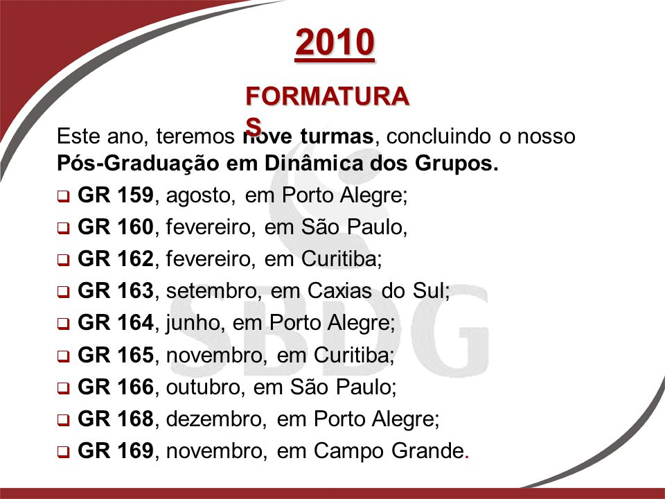 2010 FORMATURAS. Este ano, teremos nove turmas, concluindo o nosso Pós-Graduação em Dinâmica dos Grupos.