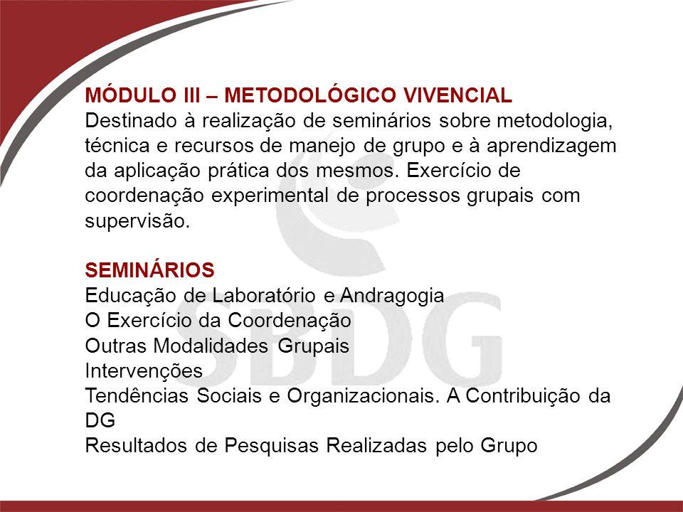 MÓDULO III – METODOLÓGICO VIVENCIAL