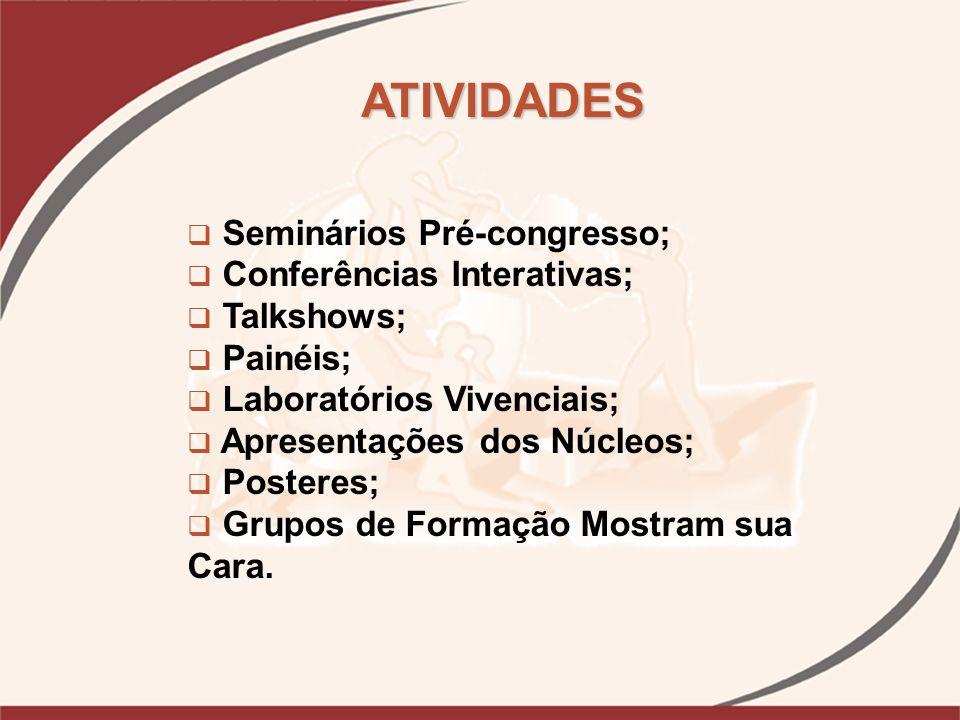 ATIVIDADES PREVISTAS Seminários Pré-congresso;