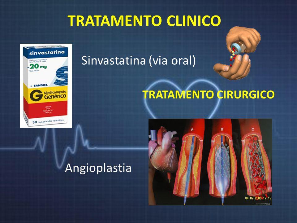 TRATAMENTO CLINICO Sinvastatina (via oral) Angioplastia
