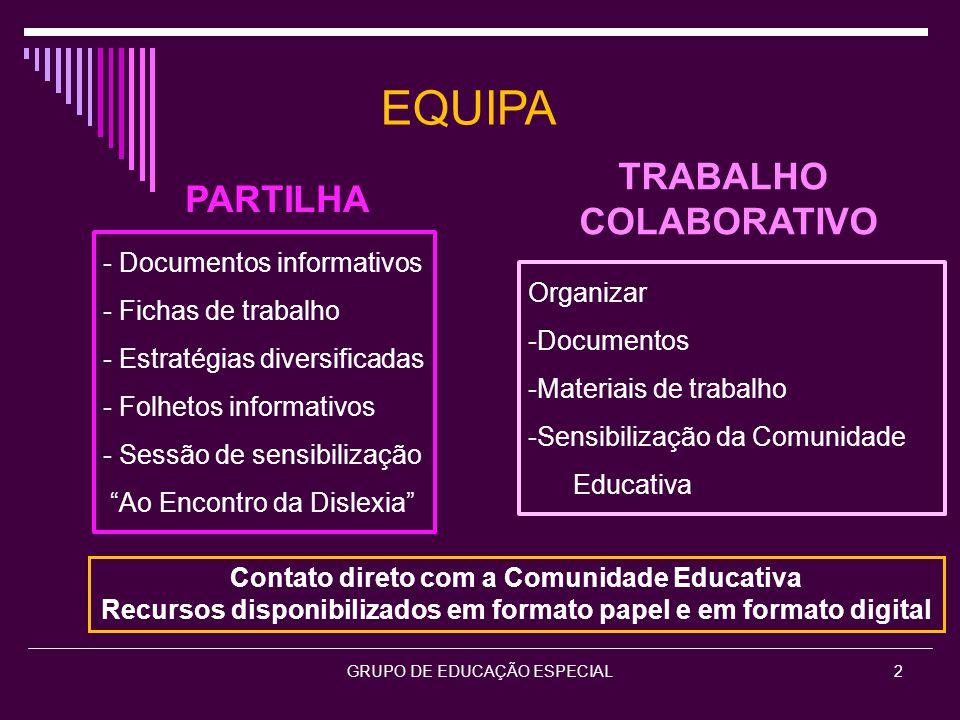 EQUIPA TRABALHO PARTILHA COLABORATIVO - Documentos informativos