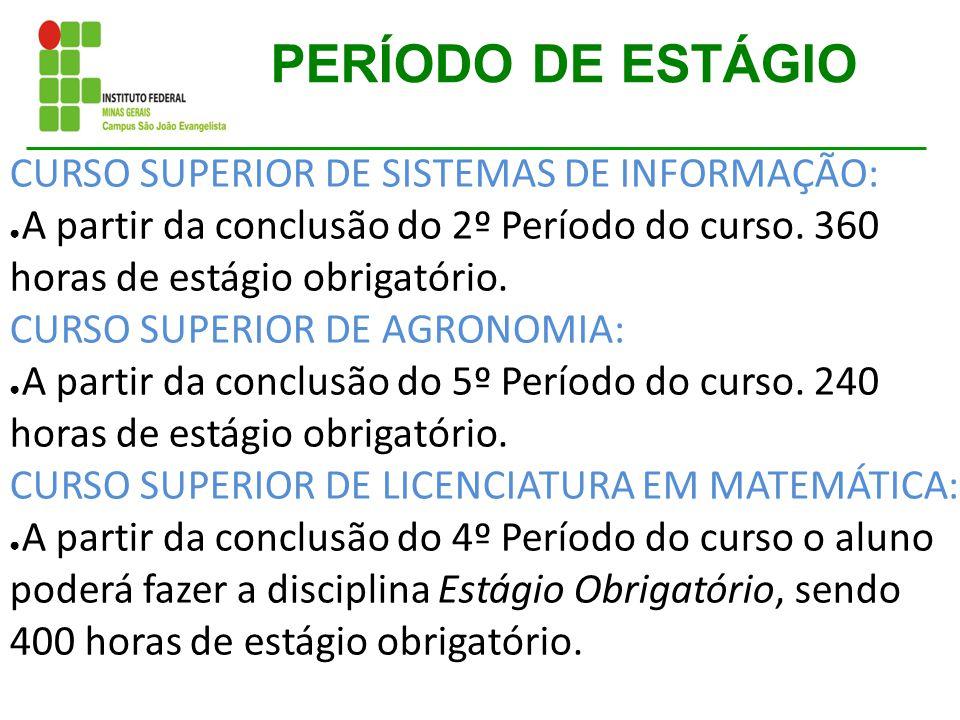 PERÍODO DE ESTÁGIO CURSO SUPERIOR DE SISTEMAS DE INFORMAÇÃO: