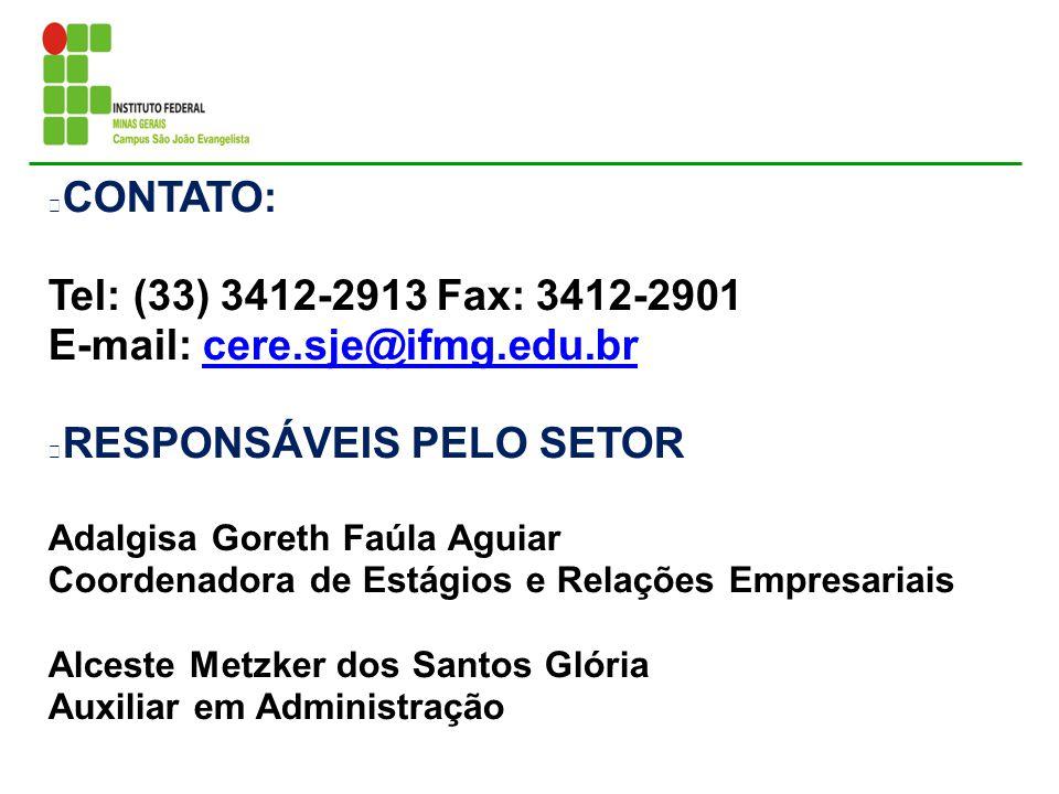 E-mail: cere.sje@ifmg.edu.br RESPONSÁVEIS PELO SETOR