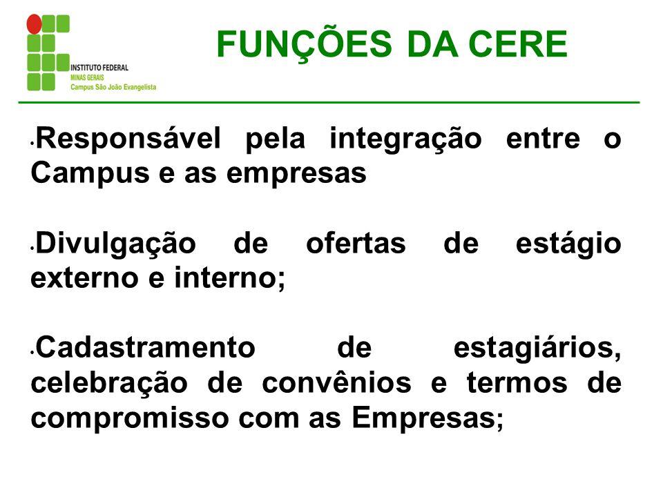 FUNÇÕES DA CERE Responsável pela integração entre o Campus e as empresas. Divulgação de ofertas de estágio externo e interno;