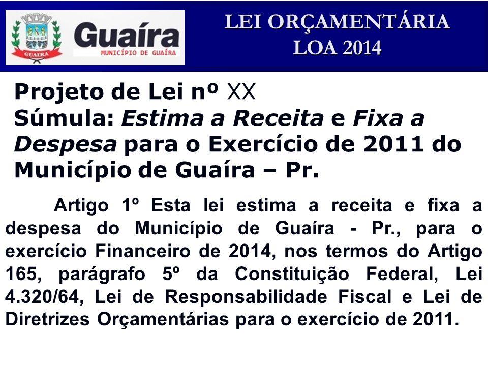 Projeto de Lei nº XX Súmula: Estima a Receita e Fixa a Despesa para o Exercício de 2011 do Município de Guaíra – Pr.