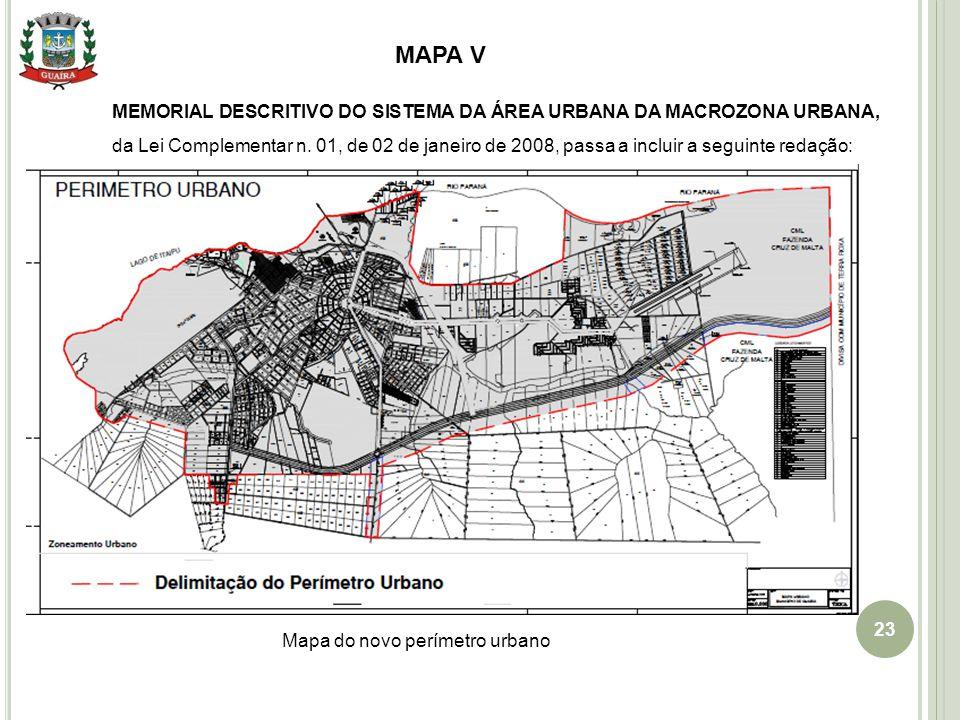 Mapa do novo perímetro urbano